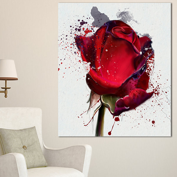 Design Art Red Rose Hand Drawn Watercolor Floral Canvas Art Print