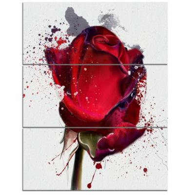 Design Art Red Rose Hand Drawn Watercolor Floral Canvas Art Print - 3 Panels