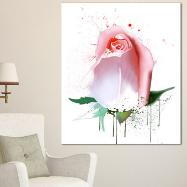 Designart Pink Rose With Paint Splashes Floral Canvas Artwork