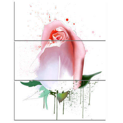 Designart Pink Rose With Paint Splashes Floral Canvas Art work - 3 Panels