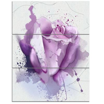Designart Beautiful Purple Rose On Purple FlowersCanvas Wall Art work - 3 Panels