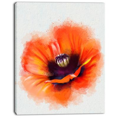 Designart Cute Orange Watercolor Flower Canvas Wall Art work