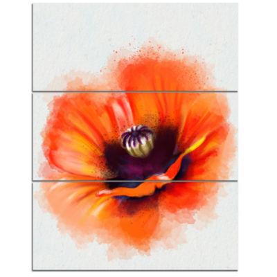 Designart Cute Orange Watercolor Flower Canvas Wall Artwork - 3 Panels