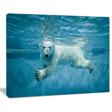 Designart Polar Bear Swimming Under Water AnimalCanvas Art work