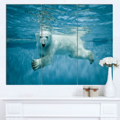 Designart Polar Bear Swimming Under Water AnimalCanvas Artwork - 3 Panels