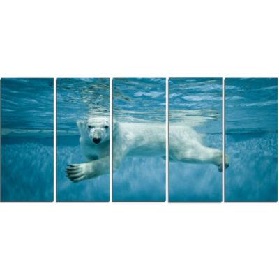 Design Art Polar Bear Swimming Under Water Animal Canvas Artwork - 5 Panels