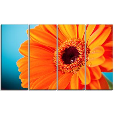 Design Art Orange Daisy Gerbera Flower Close Up Canvas Wall Artwork - 4 Panels