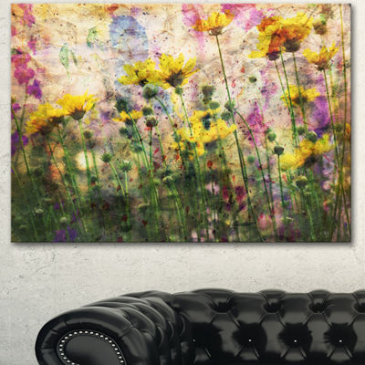 Design art Coreopsis Flowers And Paint Splashes Art work On Canvas