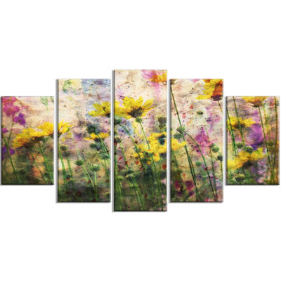 Design art Coreopsis Flowers And Paint Splashes Art work On Canvas - 5 Panels