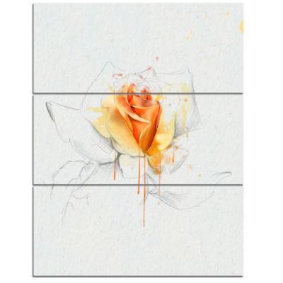 Designart Yellow Rose Sketch On White Back FlowerArt work On Canvas - 3 Panels