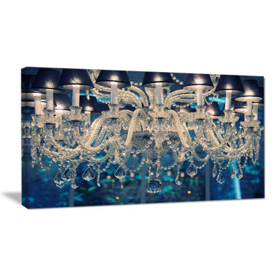 Designart Blue Vintage Crystal Chandelier Flower Art Work On Canvas