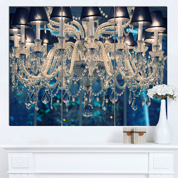 Designart Blue Vintage Crystal Chandelier FlowerArtwork On Canvas - 3 Panels