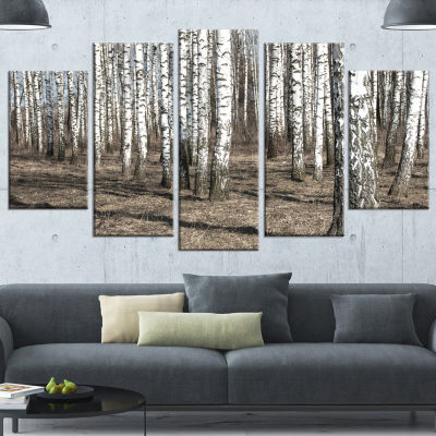 Design Art Beautiful Dense Birch Forest View Modern Forest Canvas Art - 5 Panels