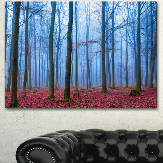 Designart Foggy Forest In Blue And Pink Photo Modern Forest Canvas Art
