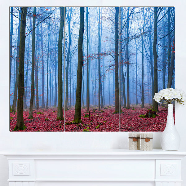 Design Art Foggy Forest In Blue And Pink Photo Modern Forest Canvas Art - 3 Panels