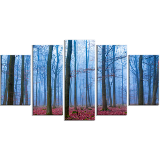 Designart Foggy Forest In Blue And Pink Photo Modern Forest Canvas Art - 5 Panels