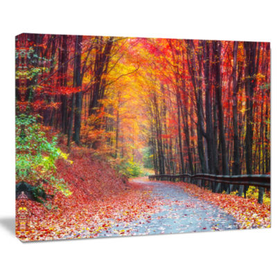 Design Art Road In Beautiful Autumn Forest Modern Forest Canvas Art