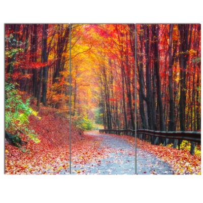Designart Road In Beautiful Autumn Forest ModernForest Canvas Art - 3 Panels
