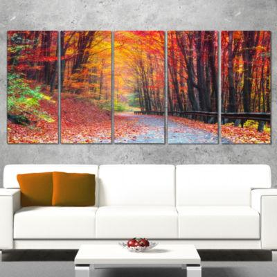Designart Road In Beautiful Autumn Forest ModernForest Canvas Art - 5 Panels