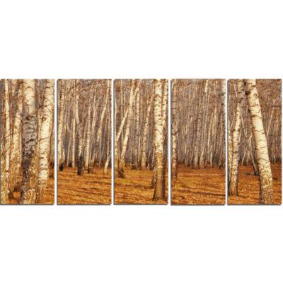 Design Art Dense Birch Forest In The Fall Forest Canvas Art Print - 5 Panels