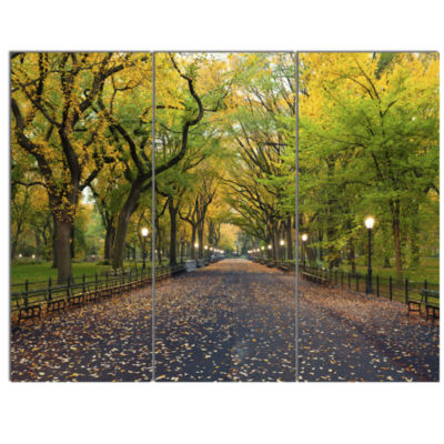Design Art The Mall Area In Central Park LandscapeCanvas Art - 3 Panels