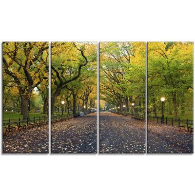 Designart The Mall Area In Central Park LandscapeCanvas Art - 4 Panels