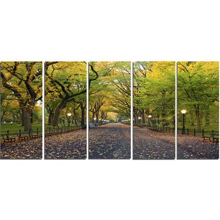 Designart The Mall Area In Central Park LandscapeCanvas Art - 5 Panels, One Size , Green