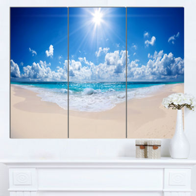 Designart Beautiful Tropical Beach Panorama ModernSeashore Canvas Art - 3 Panels