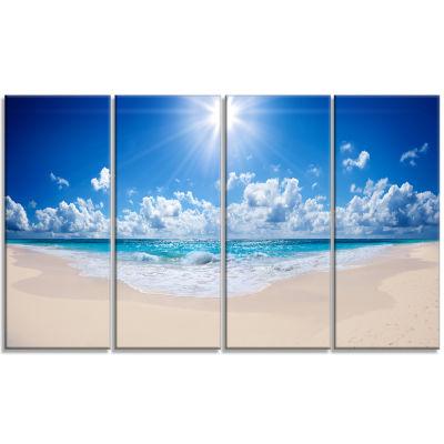 Designart Beautiful Tropical Beach Panorama ModernSeashore Canvas Art - 4 Panels