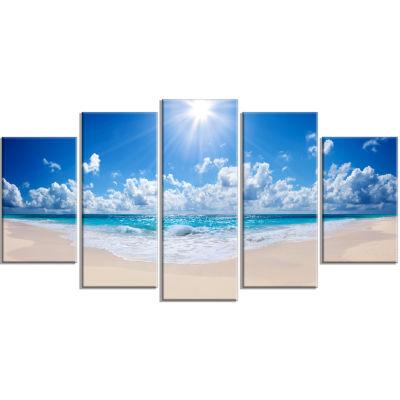Design Art Beautiful Tropical Beach Panorama Modern Seashore Canvas Art - 5 Panels