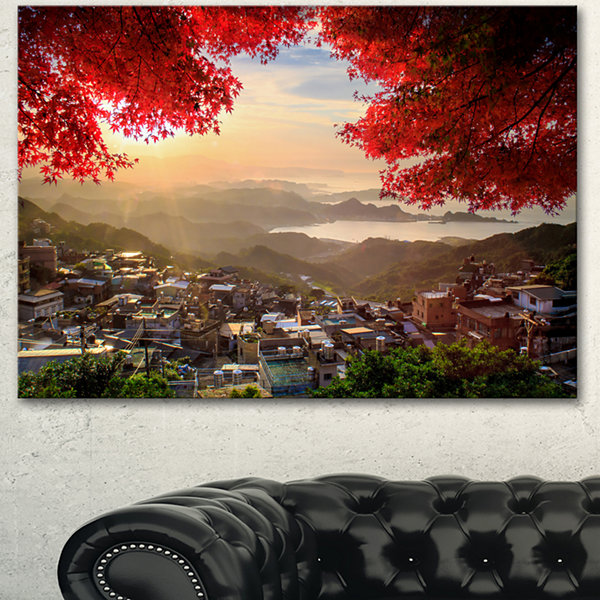 Designart Taiwan Township With Red Trees LandscapeCanvas Art