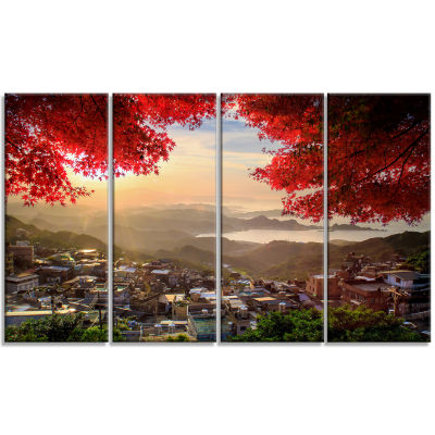 Designart Taiwan Township With Red Trees LandscapeCanvas Art - 4 Panels
