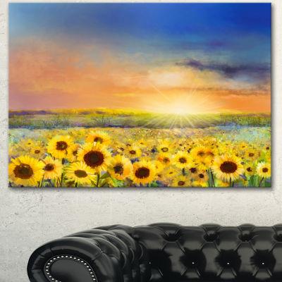 Design Art Sunset Over Golden Sunflower Field Canvas Art Print