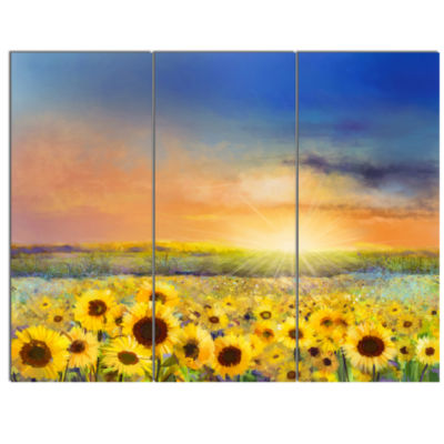 Design Art Sunset Over Golden Sunflower Field Canvas Art Print - 3 Panels