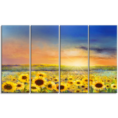 Design Art Sunset Over Golden Sunflower Field Canvas Art Print - 4 Panels