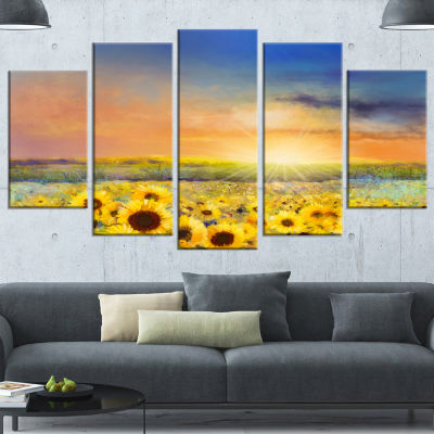 Designart Sunset Over Golden Sunflower Field Canvas Art Print - 5 Panels