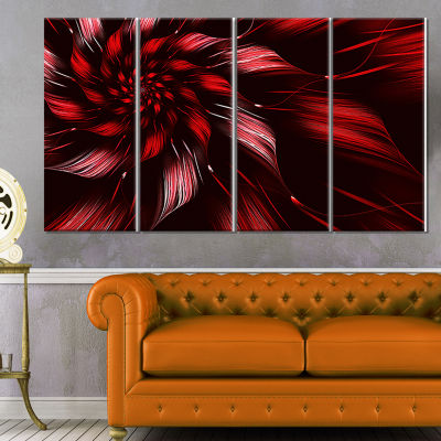 Designart Multicolor Symmetrical Fractal Flower Canvas Art Print - 4 Panels