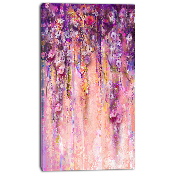 Design Art Pink And Violet Flowers Watercolor Canvas Artwork