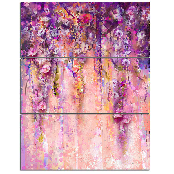 Design Art Pink And Violet Flowers Watercolor Canvas Art work - 3 Panels
