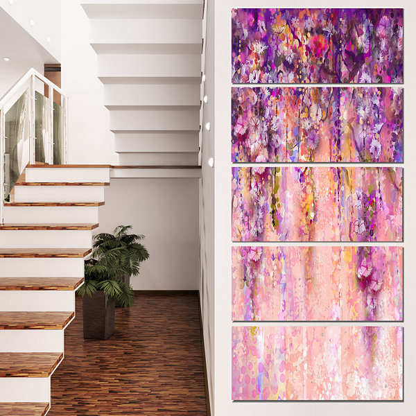 Designart Pink And Violet Flowers Watercolor Canvas Artwork - 5 Panels
