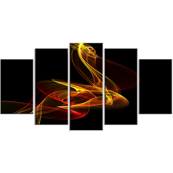 Designart Red Yellow Twisted Waves Fractal (373)Abstract Canvas Wall Art - 5 Panels