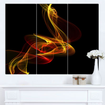 Design Art Red Yellow Twisted Waves Fractal Abstract Canvas Wall Art - 3 Panels
