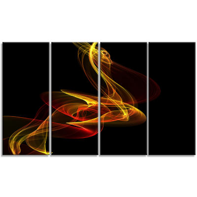 Designart Red Yellow Twisted Waves Fractal Abstract Canvas Wall Art - 4 Panels