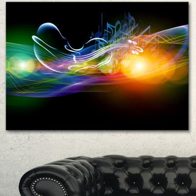 Designart Waves Of Music Fractal Design AbstractCanvas Wall Art Print