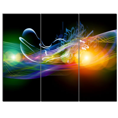 Designart Waves Of Music Fractal Design AbstractCanvas Wall Art Print - 3 Panels