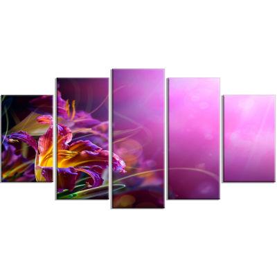 Designart Flowers On Purple Background (373) Canvas Art Print - 5 Panels