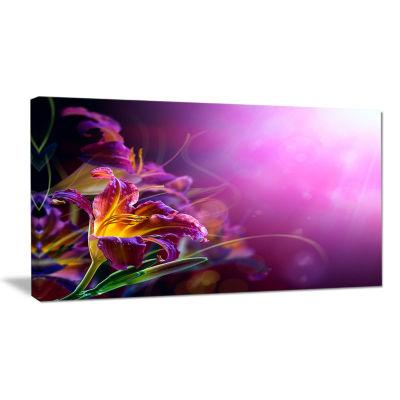 Design Art Flowers On Purple Background Canvas Art Print