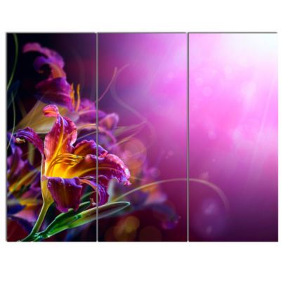 Design Art Flowers On Purple Background Canvas Art Print - 3 Panels