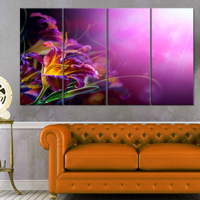 Designart Flowers On Purple Background Canvas ArtPrint - 4 Panels