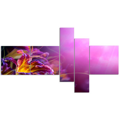 Designart Flowers On Purple Background Canvas ArtPrint - 5 Panels